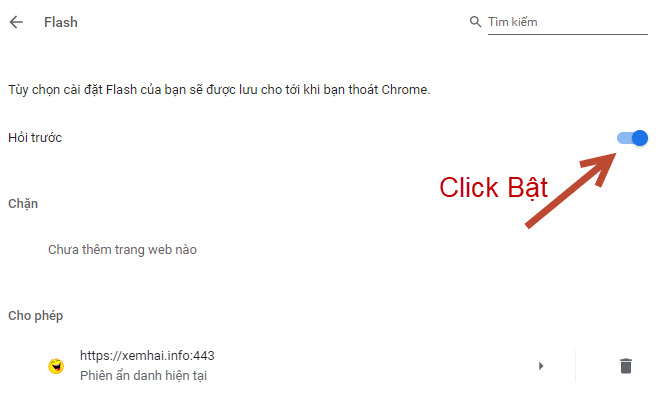 Truy cập : chrome://settings/content/flash