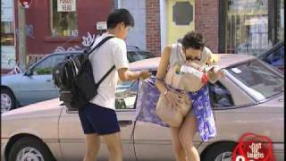 Girl loses her skirt hidden camera joke