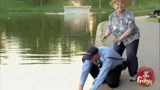 Old Woman Pushes Police Officer Into Lake!